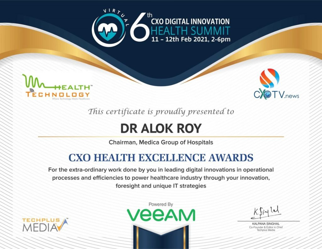 CXO Health Excellence Awards presented to Dr. Alok Roy