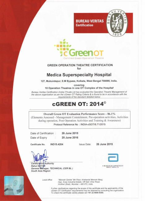 Medica awarded with Green Operation Theatre Certificate